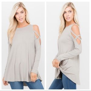 Cold Shoulder Top with X Strap on Sleeve